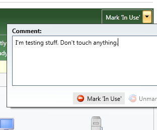 "Screenshot of how to mark a lab environment as ""in use""."